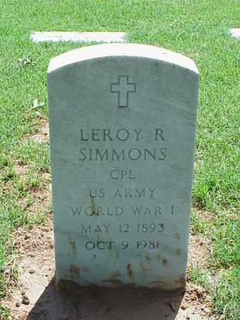 SIMMONS (VETERAN WWI), LEROY R - Pulaski County, Arkansas | LEROY R SIMMONS (VETERAN WWI) - Arkansas Gravestone Photos