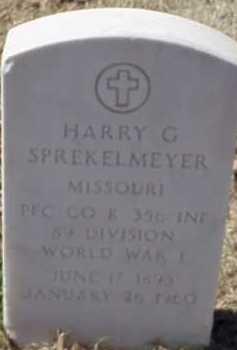 SPREKELMEYER  (VETERAN WWI), HARRY G - Pulaski County, Arkansas | HARRY G SPREKELMEYER  (VETERAN WWI) - Arkansas Gravestone Photos