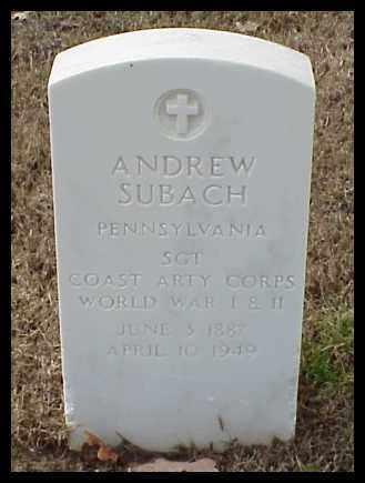 SUBACH (VETERAN 2 WARS), ANDREW - Pulaski County, Arkansas | ANDREW SUBACH (VETERAN 2 WARS) - Arkansas Gravestone Photos