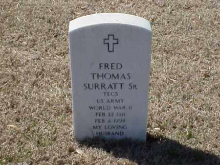 SURRATT, SR  (VETERAN WWII), FRED THOMAS - Pulaski County, Arkansas | FRED THOMAS SURRATT, SR  (VETERAN WWII) - Arkansas Gravestone Photos