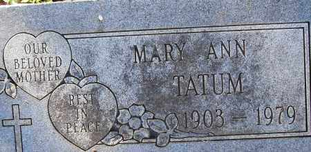 TATUM, MARY ANN - Pulaski County, Arkansas | MARY ANN TATUM - Arkansas Gravestone Photos