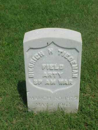 TIEDEMAN (VETERAN SAW), DIEDRICH H - Pulaski County, Arkansas | DIEDRICH H TIEDEMAN (VETERAN SAW) - Arkansas Gravestone Photos
