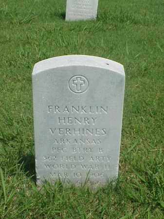 VERHINES (VETERAN WWII), FRANKLIN HENRY - Pulaski County, Arkansas | FRANKLIN HENRY VERHINES (VETERAN WWII) - Arkansas Gravestone Photos