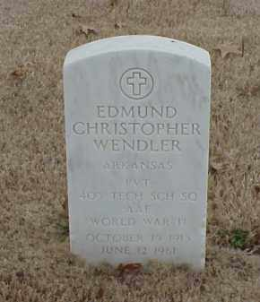 WENDLER  (VETERAN WWII), EDMUND CHRISTOPHER - Pulaski County, Arkansas | EDMUND CHRISTOPHER WENDLER  (VETERAN WWII) - Arkansas Gravestone Photos
