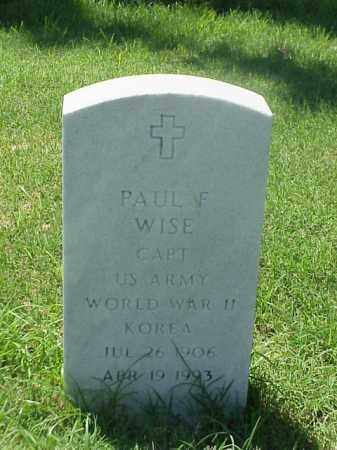 WISE (VETERAN 2 WARS), PAUL F - Pulaski County, Arkansas | PAUL F WISE (VETERAN 2 WARS) - Arkansas Gravestone Photos