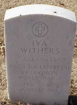 WITHERS  (VETERAN WWI), IVA - Pulaski County, Arkansas | IVA WITHERS  (VETERAN WWI) - Arkansas Gravestone Photos