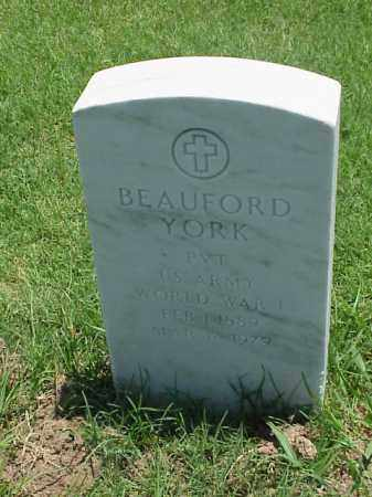 YORK (VETERAN WWI), BEAUFORD - Pulaski County, Arkansas | BEAUFORD YORK (VETERAN WWI) - Arkansas Gravestone Photos