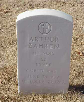 ZAHREN (VETERAN WWI), ARTHUR - Pulaski County, Arkansas | ARTHUR ZAHREN (VETERAN WWI) - Arkansas Gravestone Photos