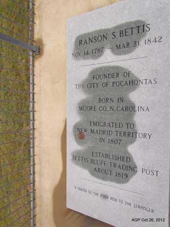 BETTIS, RANSON S - Randolph County, Arkansas   RANSON S BETTIS - Arkansas Gravestone Photos