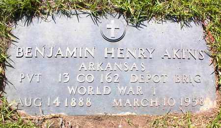 "AKINS (VETERAN WWI), BENJAMIN HENRY ""BEN"" - Saline County, Arkansas | BENJAMIN HENRY ""BEN"" AKINS (VETERAN WWI) - Arkansas Gravestone Photos"