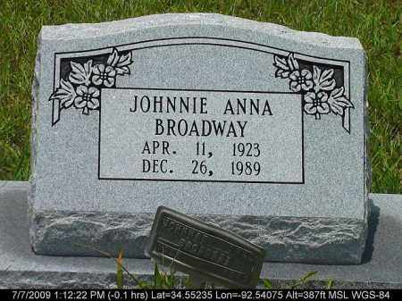 BROADWAY, JOHNNIE ANNA - Saline County, Arkansas | JOHNNIE ANNA BROADWAY - Arkansas Gravestone Photos