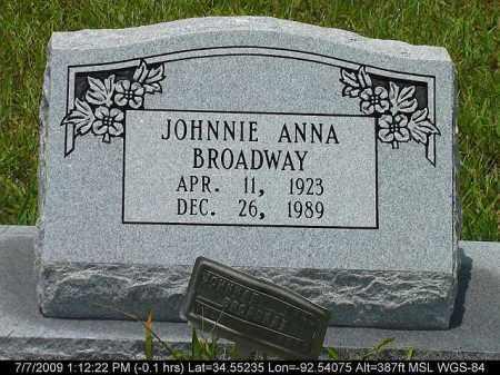 BROADWAY, JOHNNIE ANNA - Saline County, Arkansas | JOHNNIE ANNA BROADWAY - Arkansas Gravestone Photos