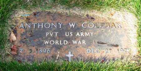 COLEBAR (VETERAN WWI), ANTHONY W - Saline County, Arkansas | ANTHONY W COLEBAR (VETERAN WWI) - Arkansas Gravestone Photos