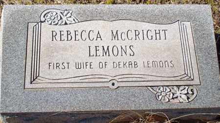 MCCRIGHT LEMONS, REBECCA - Saline County, Arkansas | REBECCA MCCRIGHT LEMONS - Arkansas Gravestone Photos