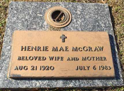 MCGRAW, HENRIE MAE - Saline County, Arkansas | HENRIE MAE MCGRAW - Arkansas Gravestone Photos