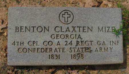 MIZE  (VETERAN CSA), BENTON CLAXTEN - Saline County, Arkansas | BENTON CLAXTEN MIZE  (VETERAN CSA) - Arkansas Gravestone Photos