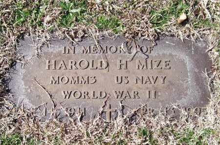 MIZE (VETERAN WWII), HAROLD H. - Saline County, Arkansas | HAROLD H. MIZE (VETERAN WWII) - Arkansas Gravestone Photos