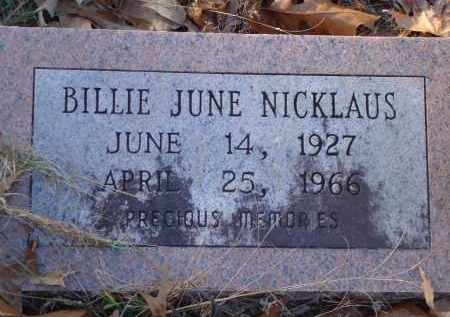 NICKLAUS, BILLIE JUNE - Saline County, Arkansas | BILLIE JUNE NICKLAUS - Arkansas Gravestone Photos