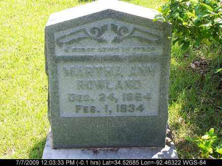 ROWLAND, MARTHA ANN - Saline County, Arkansas | MARTHA ANN ROWLAND - Arkansas Gravestone Photos
