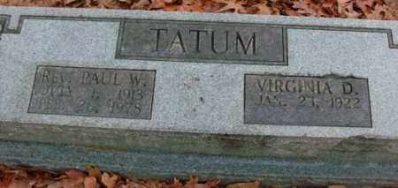 TATUM, REV, PAUL W. - Saline County, Arkansas | PAUL W. TATUM, REV - Arkansas Gravestone Photos