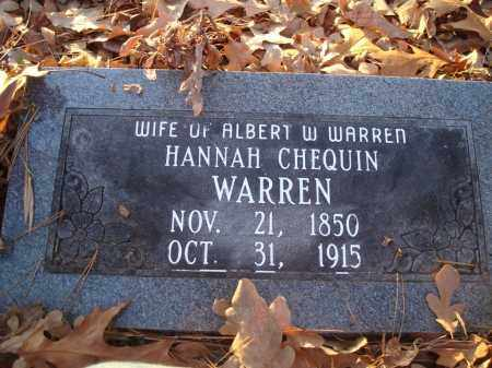 CHEQUIN WARREN, HANNAH - Saline County, Arkansas | HANNAH CHEQUIN WARREN - Arkansas Gravestone Photos
