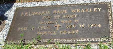 WEAKLEY (VETERAN WWII), LEONARD PAUL - Saline County, Arkansas | LEONARD PAUL WEAKLEY (VETERAN WWII) - Arkansas Gravestone Photos