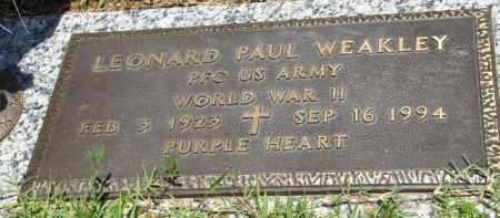 WEAKLEY (VETERAN WWII), LEONARD PAUL - Saline County, Arkansas | LEONARD PAUL WEAKLEY (VETERAN WWII) - Arkansas Gravestone Photos