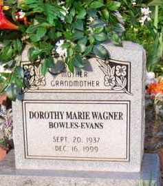 WAGNER BOWLES-EVANS, DOROTHY MARIE - Scott County, Arkansas | DOROTHY MARIE WAGNER BOWLES-EVANS - Arkansas Gravestone Photos