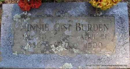 GIST BURDEN, MINNIE - Scott County, Arkansas | MINNIE GIST BURDEN - Arkansas Gravestone Photos