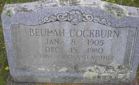 COCKBURN, BEULAH - Scott County, Arkansas | BEULAH COCKBURN - Arkansas Gravestone Photos