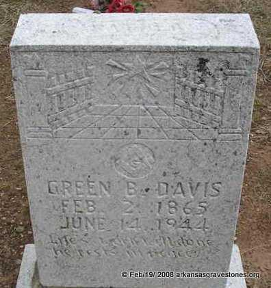 DAVIS, GREEN B - Scott County, Arkansas | GREEN B DAVIS - Arkansas Gravestone Photos