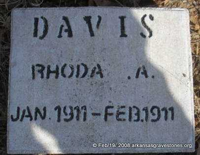 DAVIS, RHODA A - Scott County, Arkansas | RHODA A DAVIS - Arkansas Gravestone Photos