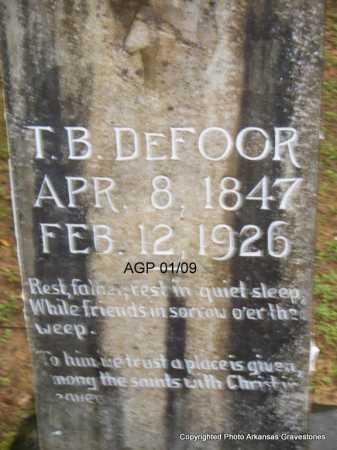 DEFOOR  (VETERAN CSA), T B - Scott County, Arkansas | T B DEFOOR  (VETERAN CSA) - Arkansas Gravestone Photos
