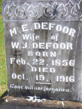DEFOOR, M  E - Scott County, Arkansas | M  E DEFOOR - Arkansas Gravestone Photos