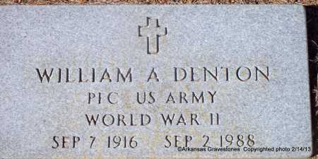 DENTON  (VETERAN WWII), WILLIAM A - Scott County, Arkansas | WILLIAM A DENTON  (VETERAN WWII) - Arkansas Gravestone Photos