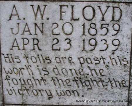 FLOYD, A W  (CLOSEUP) - Scott County, Arkansas | A W  (CLOSEUP) FLOYD - Arkansas Gravestone Photos