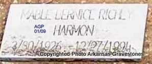 HARMON, MABLE BERNICE - Scott County, Arkansas | MABLE BERNICE HARMON - Arkansas Gravestone Photos