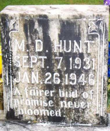 HUNT, M  D - Scott County, Arkansas | M  D HUNT - Arkansas Gravestone Photos