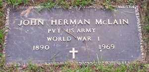 MCLAIN (VETERAN WWI), JOHN HERMAN - Scott County, Arkansas | JOHN HERMAN MCLAIN (VETERAN WWI) - Arkansas Gravestone Photos