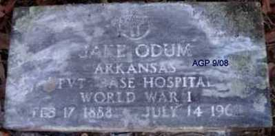 ODUM (VETERAN WWI), JAKE - Scott County, Arkansas | JAKE ODUM (VETERAN WWI) - Arkansas Gravestone Photos
