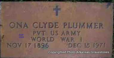PLUMMER   (VETERAN WWI), ONA CLYDE - Scott County, Arkansas | ONA CLYDE PLUMMER   (VETERAN WWI) - Arkansas Gravestone Photos