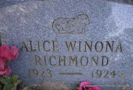 RICHMOND, ALICE WINONA - Scott County, Arkansas | ALICE WINONA RICHMOND - Arkansas Gravestone Photos