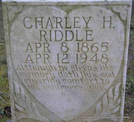 RIDDLE, CHARLEY H - Scott County, Arkansas | CHARLEY H RIDDLE - Arkansas Gravestone Photos