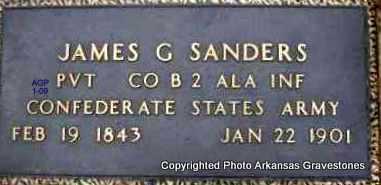 SANDERS  (VETERAN CSA), JAMES G - Scott County, Arkansas | JAMES G SANDERS  (VETERAN CSA) - Arkansas Gravestone Photos