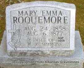 ROQUEMORE SIMMONS, MARY EMMA - Scott County, Arkansas | MARY EMMA ROQUEMORE SIMMONS - Arkansas Gravestone Photos