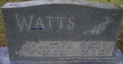 WATTS, TALMADGE J - Scott County, Arkansas | TALMADGE J WATTS - Arkansas Gravestone Photos