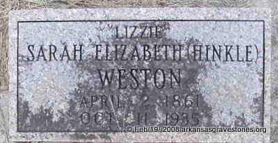"HINKLE WESTON, SARAH ELIZABETH ""LIZZIE"" - Scott County, Arkansas 