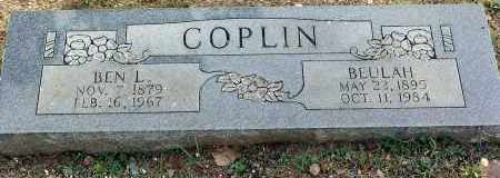 HILL COPLIN, BEULAH - Sebastian County, Arkansas | BEULAH HILL COPLIN - Arkansas Gravestone Photos
