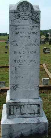 IRVIN, FRANK TATUM - Sebastian County, Arkansas | FRANK TATUM IRVIN - Arkansas Gravestone Photos