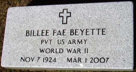 BEYETTE (VETERAN WWII), BILLEE FAE - Sevier County, Arkansas | BILLEE FAE BEYETTE (VETERAN WWII) - Arkansas Gravestone Photos